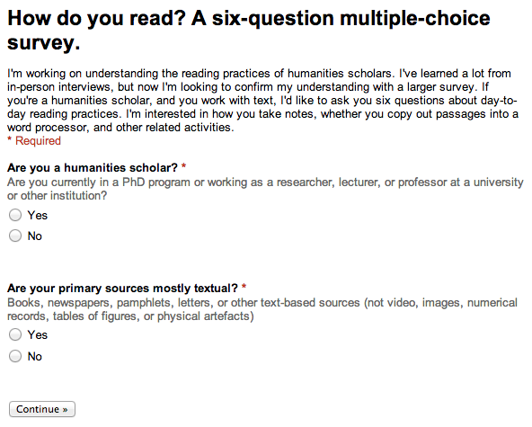 Filter questions: are you a humanities scholar? Are your primary sources mostly textual?