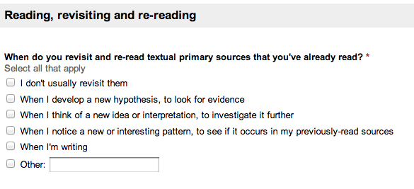 When do you revisit and re-read textual primary sources that you've already read?